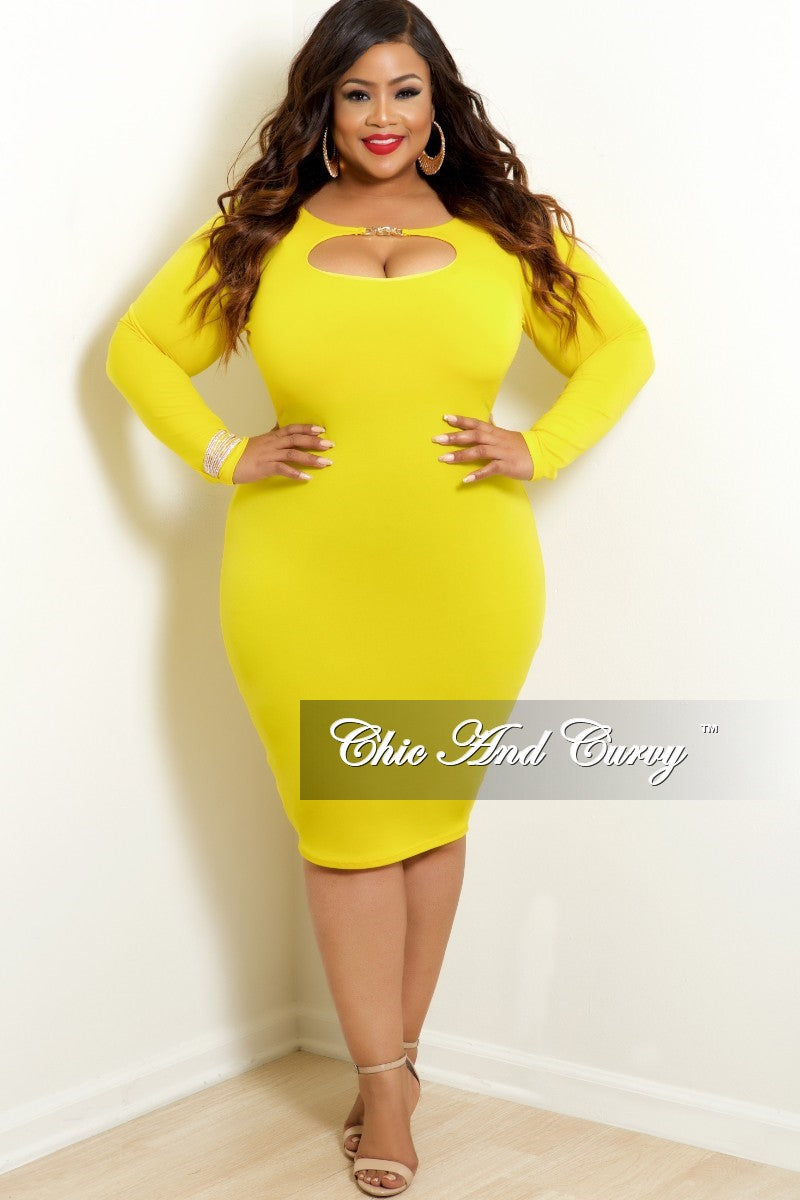 New Plus Size BodyCon Dress with Front Cutout in Yellow