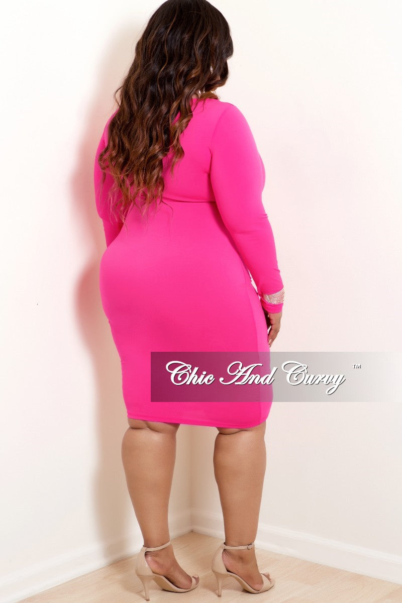 New Plus Size BodyCon Dress with Front Cutout in highlighter Neon Pink