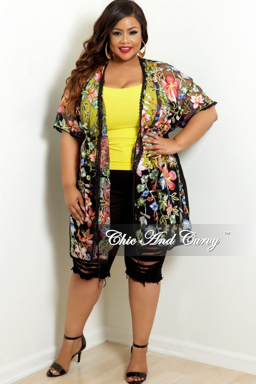 New Plus Size Mesh Kimono Cover Up In Black Floral Print