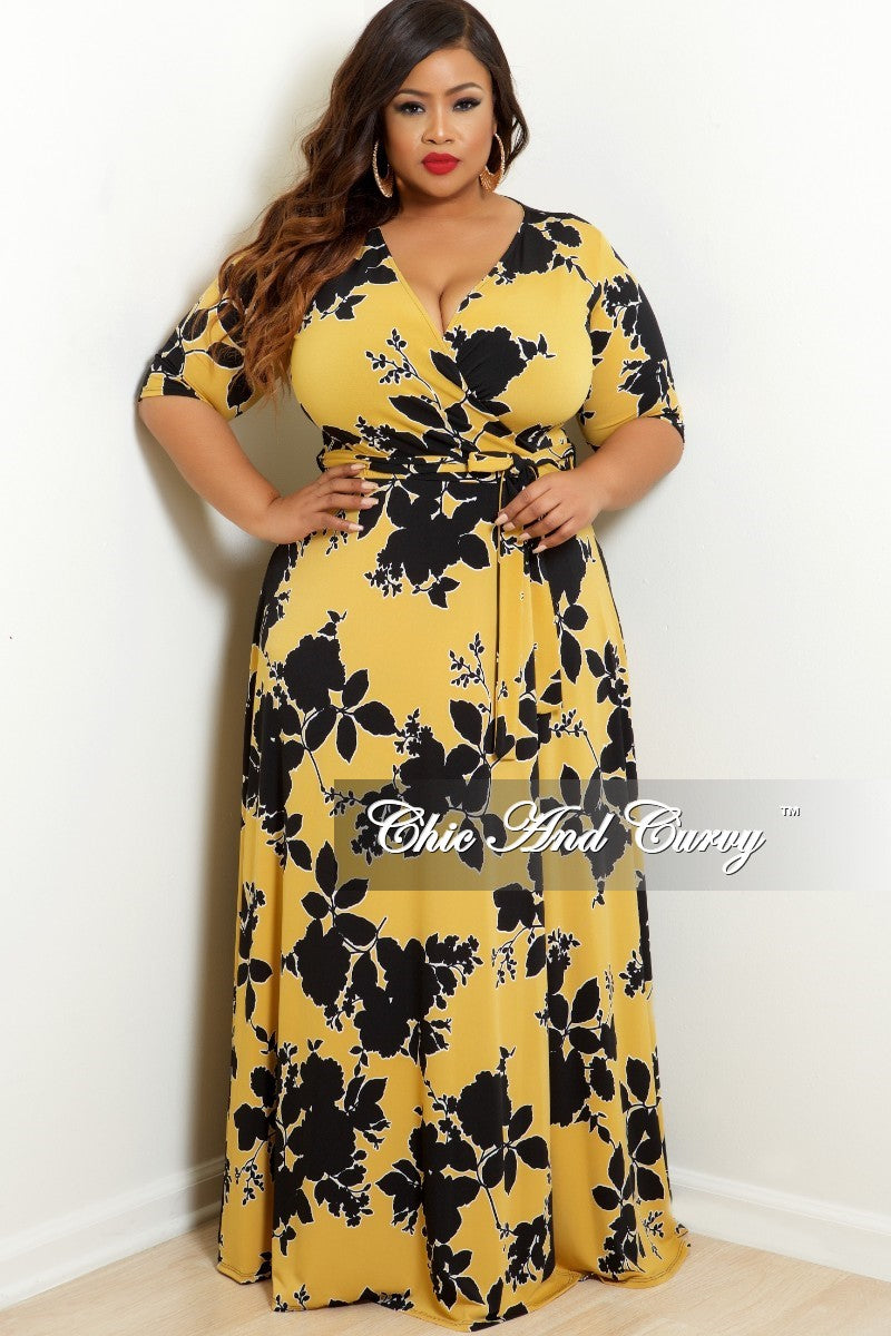 New Plus Size Wrap Dress with 3/4 Sleeves and Tie in Mustard and Black