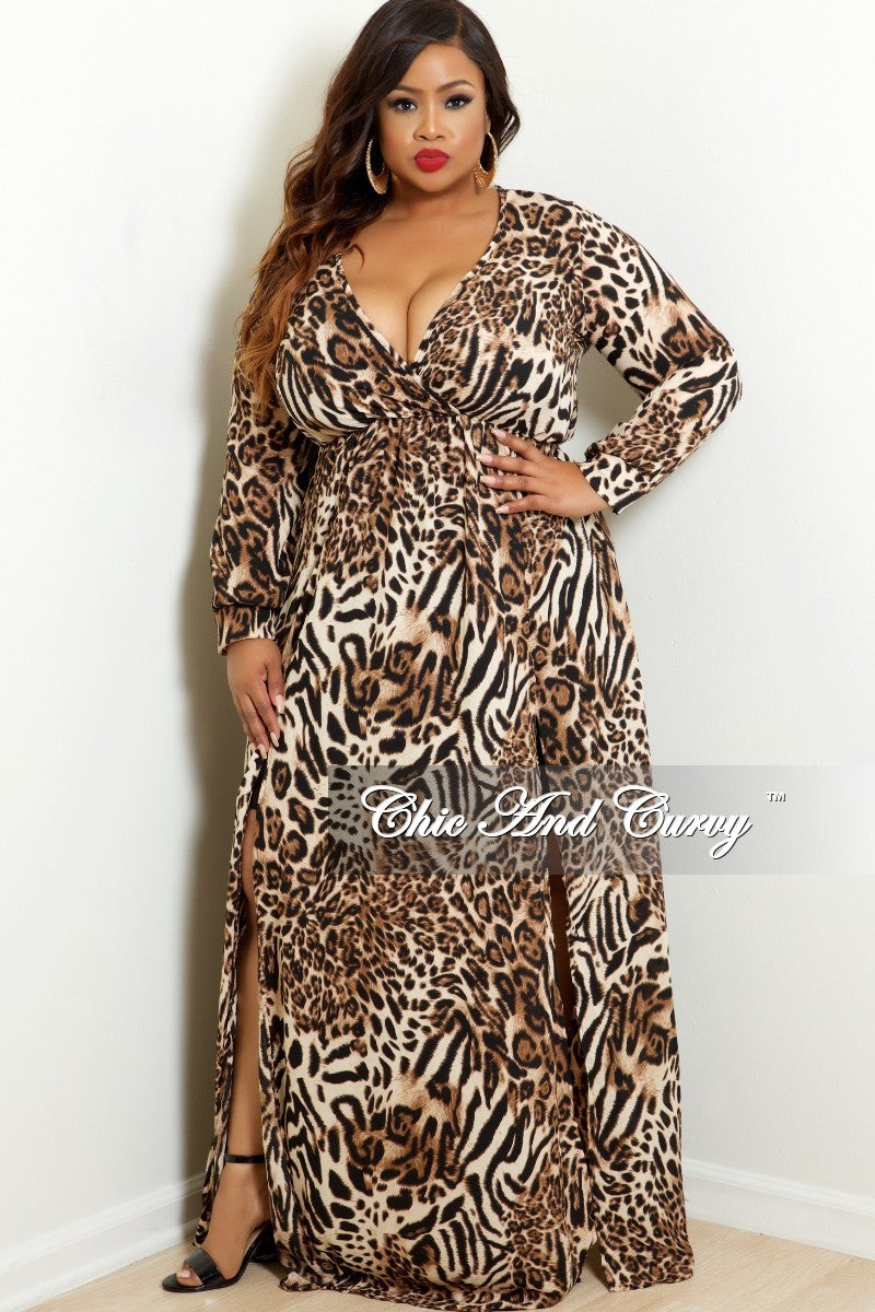 New Plus Size Faux Wrap Dress With Front High Slit In Cheetah Print