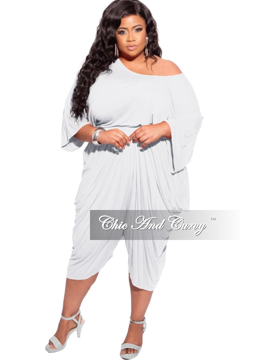 New Plus Size 2-piece Crop Top & Harem Pants Set in Light Grey
