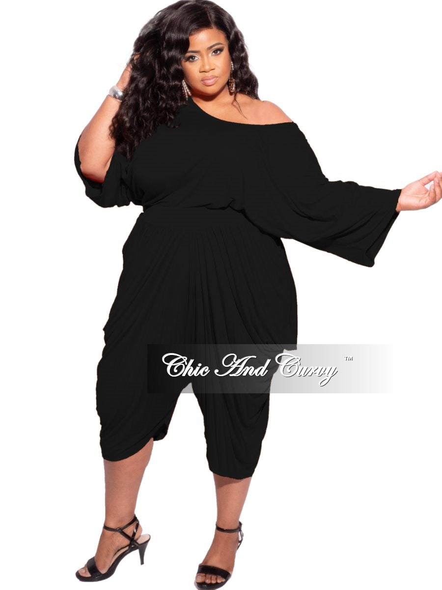 New Plus Size 2-piece Crop Top & Harem Pants Set in Black