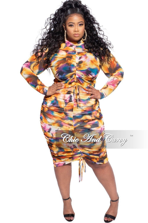Final Sale Plus Size 2-Piece Top & Skirt Set in Mustard Watercolor Print