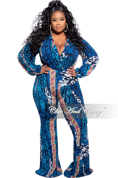 Final Sale Plus Size 2-Piece Bodysuit & Pants Set in Blue Yellow Pink