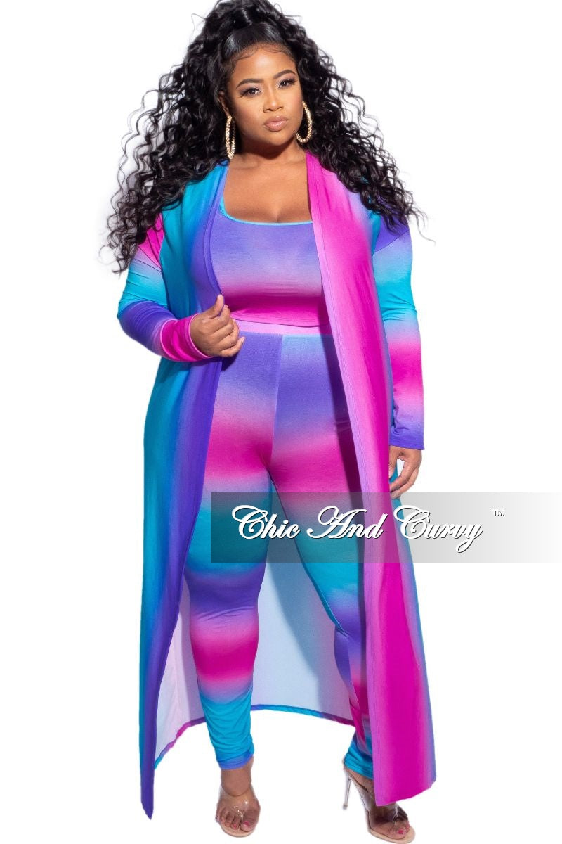 New Plus Size 3-Piece (Duster, Crop Tank Top and Pants) Set in Purple, Pink & Blue