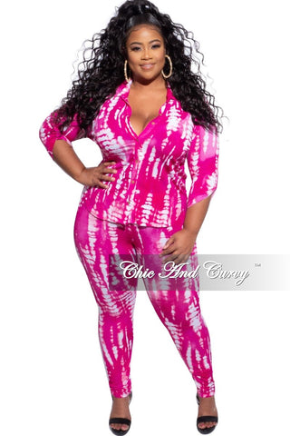 New Plus Size 2pc (Off the Shoulder Top & Bermuda Short) Set in Navy & Orange Tie Dye