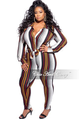 Final Sale Plus Size 2-Piece Collared Button Top and Pants Set in Stripes