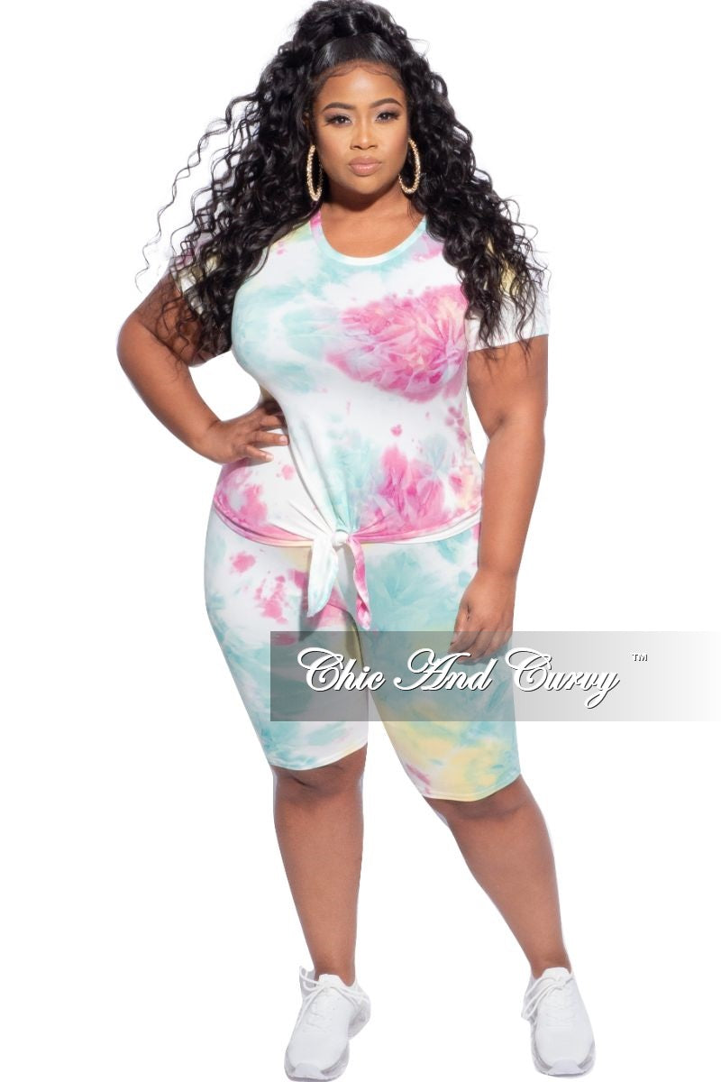 New Plus Size 2-Piece (Knotted Top & Bermuda Short) Set in Yellow, Mint, and Pink Tie Dye
