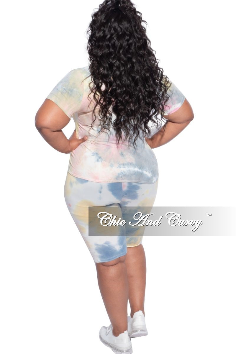 New Plus Size 2-Piece (Knotted Top & Bermuda Short) Set in Pink, Yellow & Blue Tie Dye