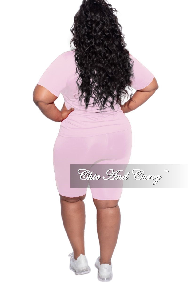 Final Sale Plus Size 2-Piece ( Round Neck T-Shirt & Bermuda Short) Set in Soft Pink