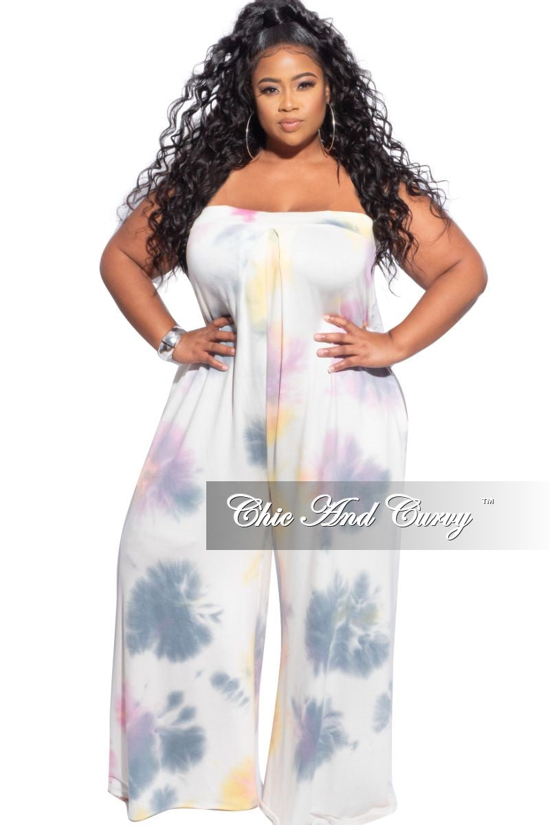 New Plus Size Strapless Wide Leg Jumpsuit in Pastel Tie Dye Print