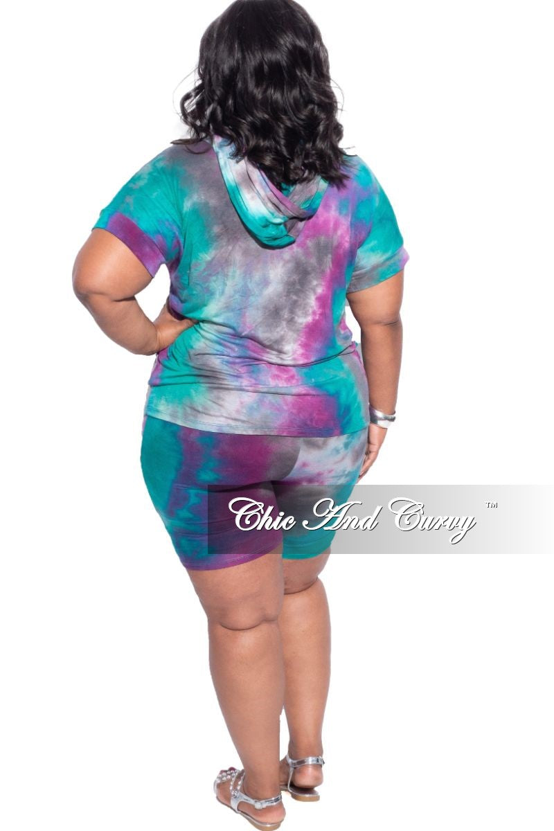 New Plus Size 2-Piece (Shirt & Short) Set in Purple & Green Tie Dye