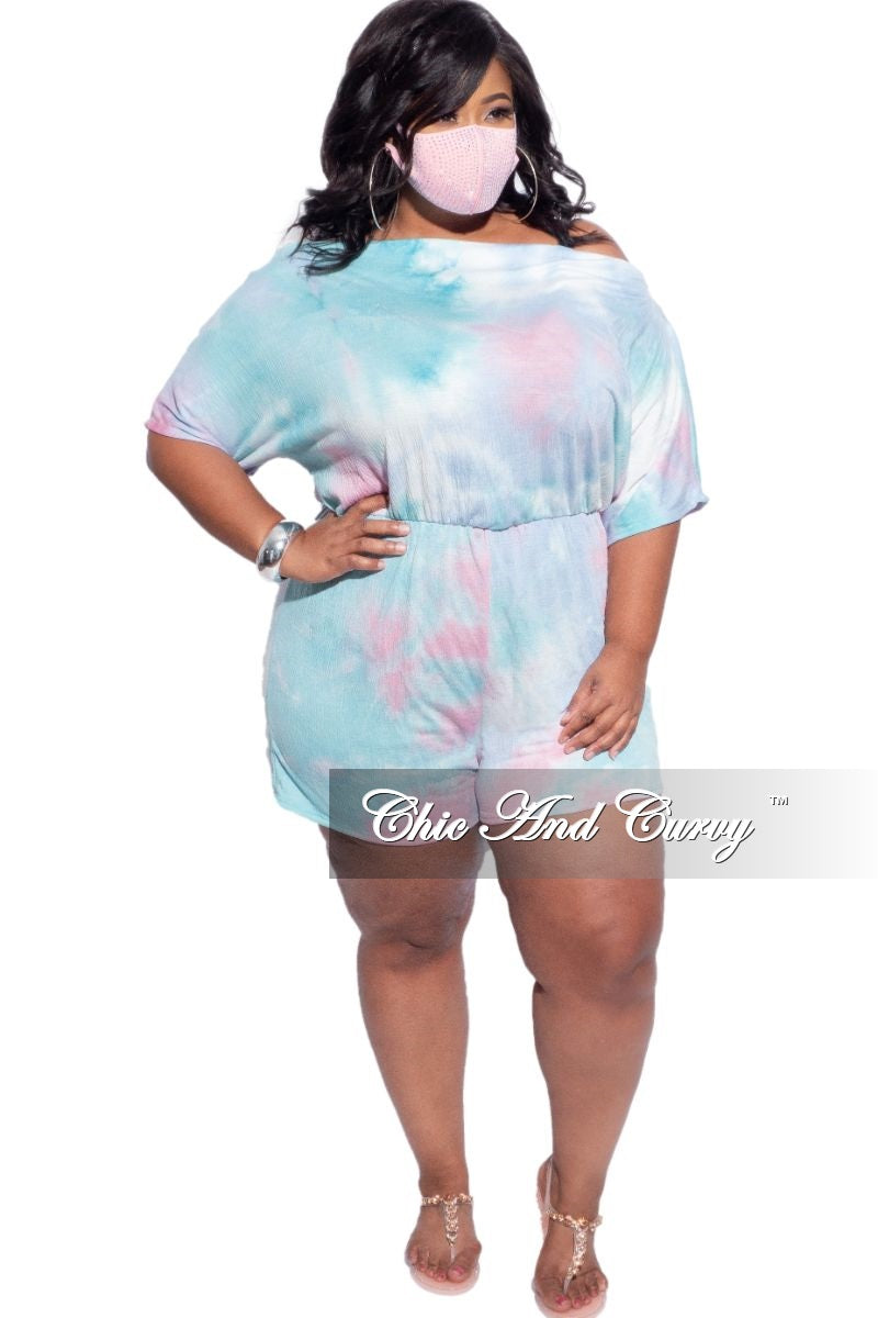New Plus Size Off the Shoulder Romper in Aqua, Pink & Blue Spray Print