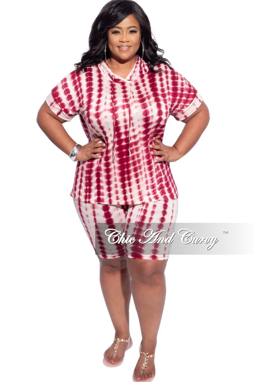 New Plus Size 2-Piece (Hooded Top & Short) Set in Burgundy & Off White Tie Dye Print
