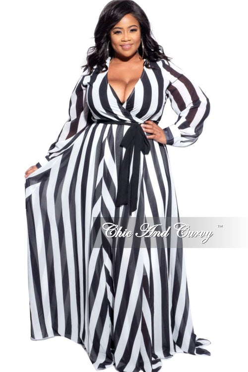 Final Sale Plus Size Chiffon Faux Wrap Maxi in White & Black Stripe Print