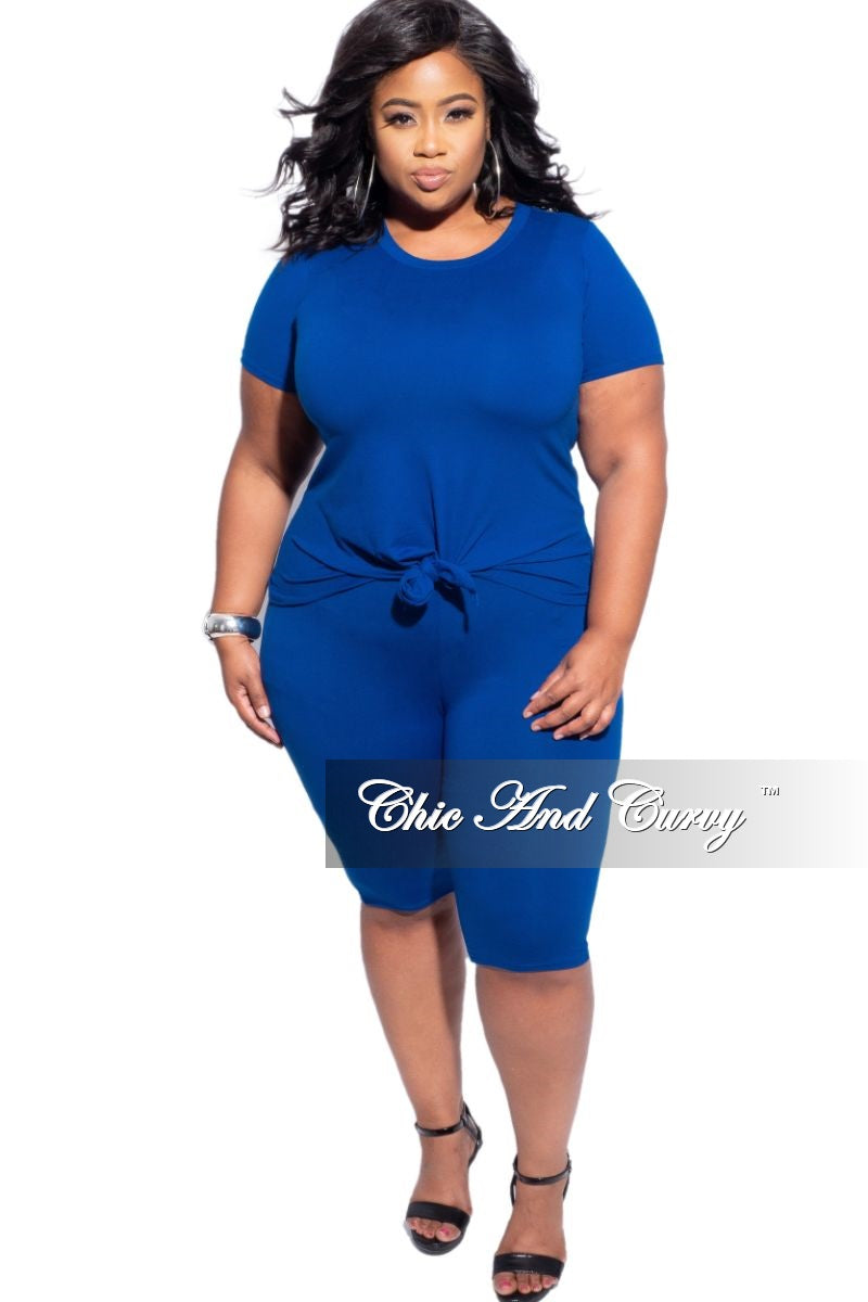 Final Sale Plus Size 2-Piece (Knotted Shirt & Short) Set in Blue