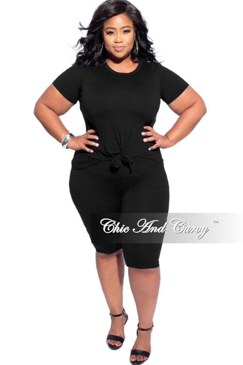 New Final Sale Plus Size 2-Piece (Knotted Shirt & Short) Set in Black