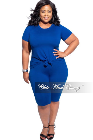 Final Plus Size Peplum Dress in Royal Blue Scuba
