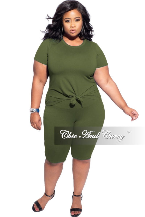 New Final Sale Plus Size 2-Piece (Knotted Shirt & Short) Set in Olive