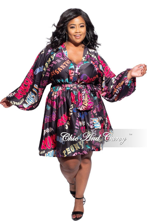 New Plus Size Baby Doll Dress with Colorful Wording Print