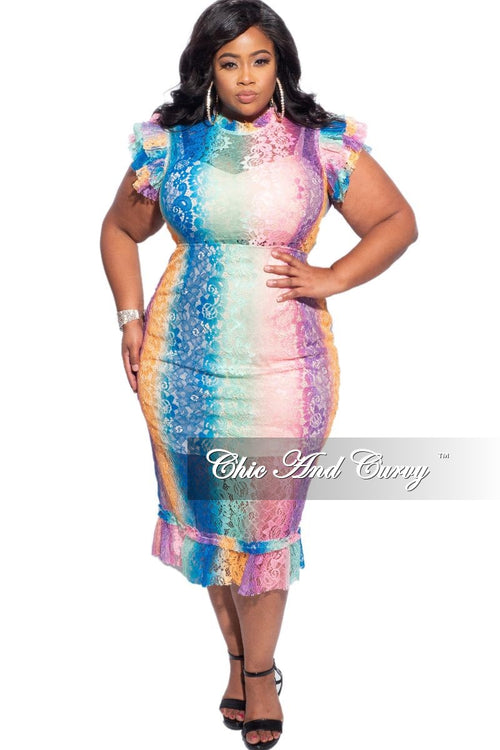 Final Sale Plus Size Sheer Lace Bodycon Dress in Ombre Print