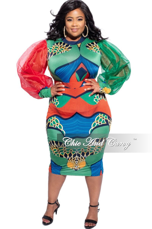 New Plus Size 2-Piece Sheer Sleeve Bodysuit and Skirt Set in Multicolor Design Print