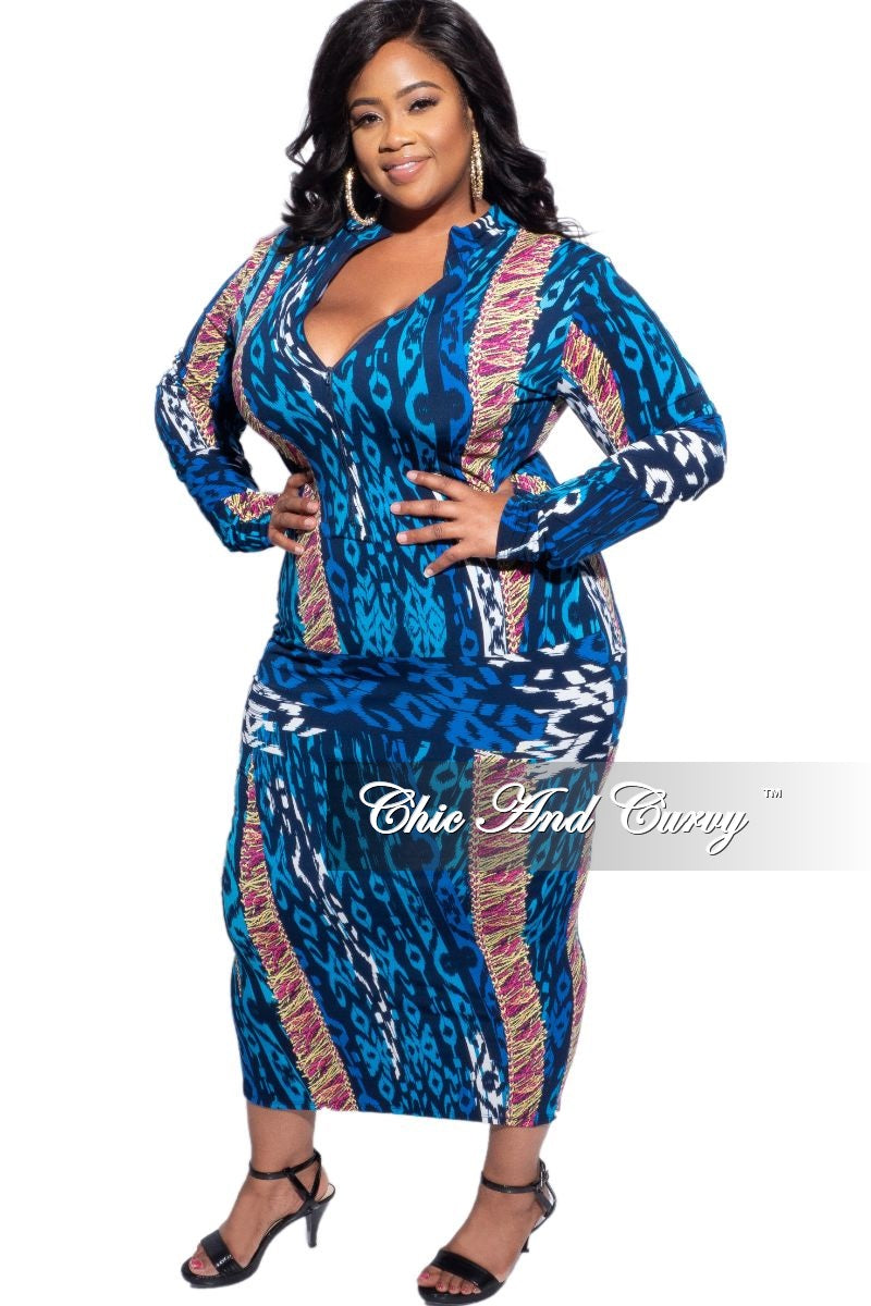 New Plus Size Reversible BodyCon Dress in Blue, Mustard & Pink Multi-Colors