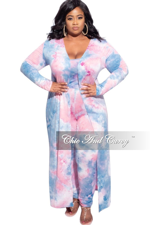 New Plus Size 3pc (Duster, Crop Tank Top & Pants) Set in Pink & Blue Tie Dye