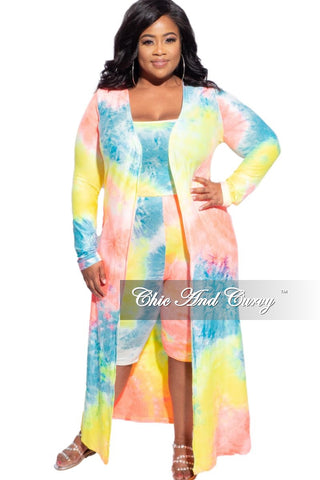 Final Sale Plus Size 2pc (Top & Bermuda Short) Set in Pink & Blue Tie Dye