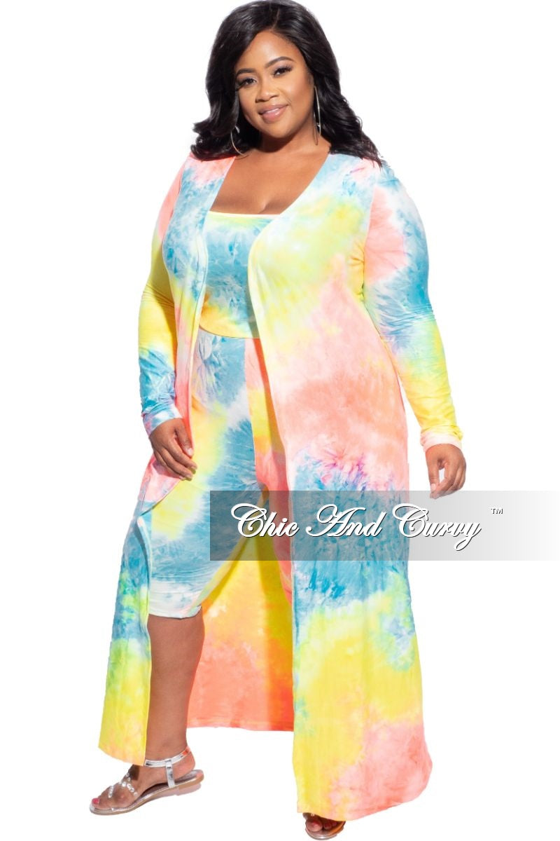 New Plus Size 3pc (Duster, Crop Tank Top & Shorts) in Multicolor Tie Dye