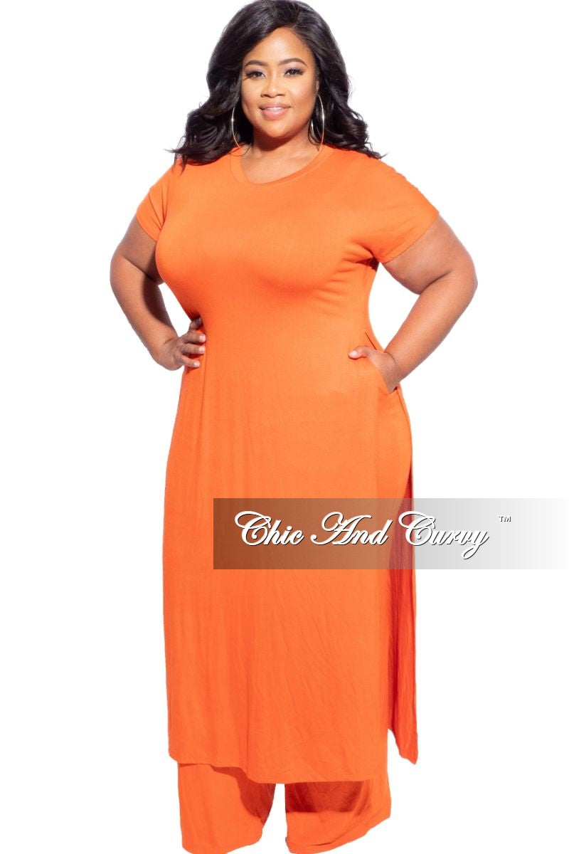 New Plus Size Pants Set in Black, Pink or Orange