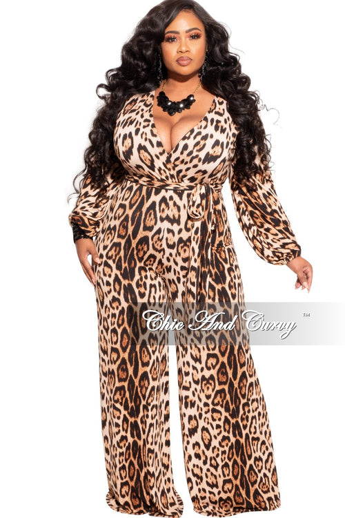 New Plus Size Jumpsuit with Attached Tie in Cheetah Print