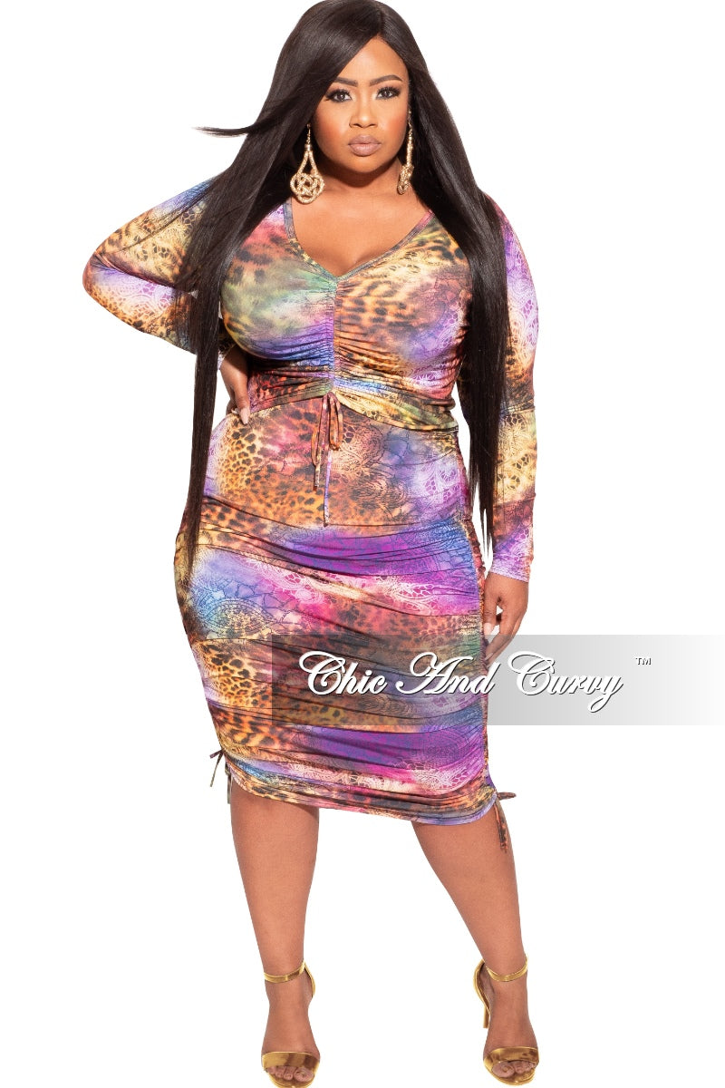 Final Sale Plus Size 2-Piece Top & Skirt Set in Multi-Color Animal Print