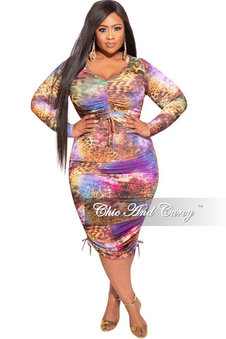 Final Sale Plus Size 2-Piece Crop Top and Palazzo Pant Set in Rust & Navy Tropical Print
