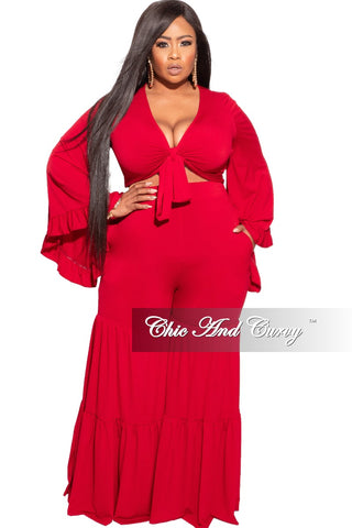 Final Sale Plus Size 2-Piece Set with Ruched Pants in Grey