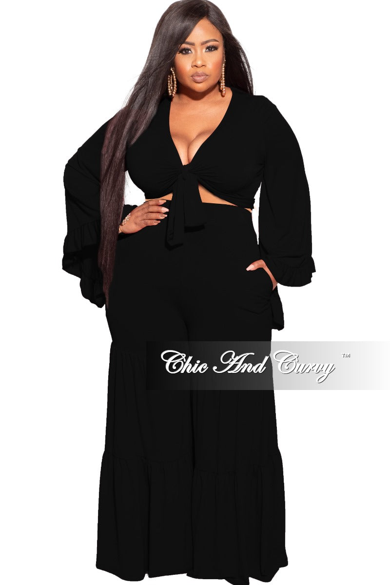 Final Sale Plus Size 2-Piece Long Sleeve Crop Tie Top and 3-Layer Pants Set in Black