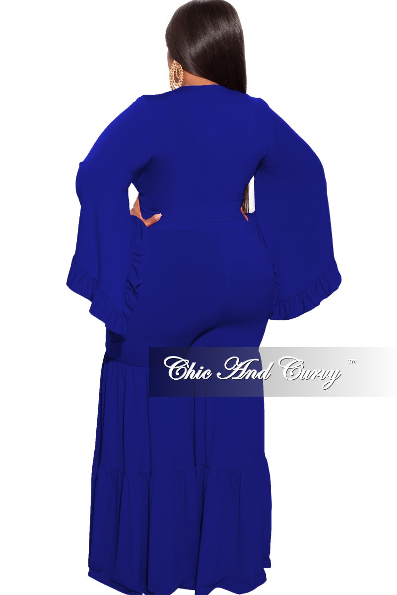 Final Sale Plus Size 2-Piece Long Sleeve Crop Tie Top and 3-Layer Pants Set in Royal Blue