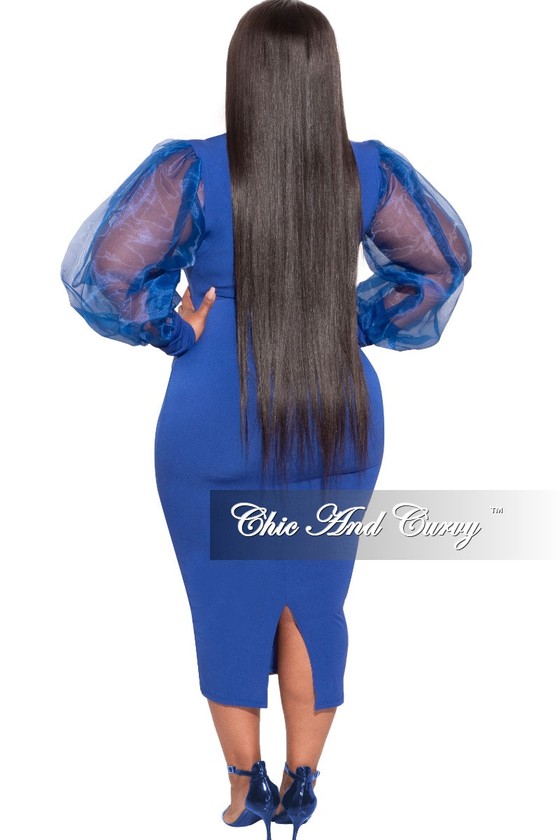 Final Sale Plus Size Sheer Organza Puffed Sleeve Bodycon Dress in Royal Blue