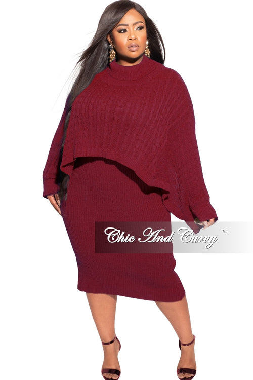 Final Sale Plus Size Sweater Dress with Poncho in Burgundy