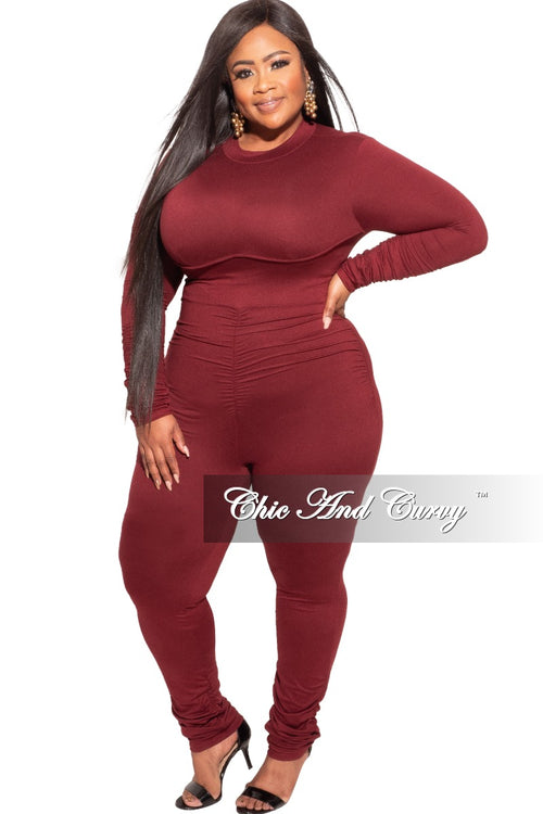 Final Sale Plus Size Jumpsuit / Catsuit in Burgundy