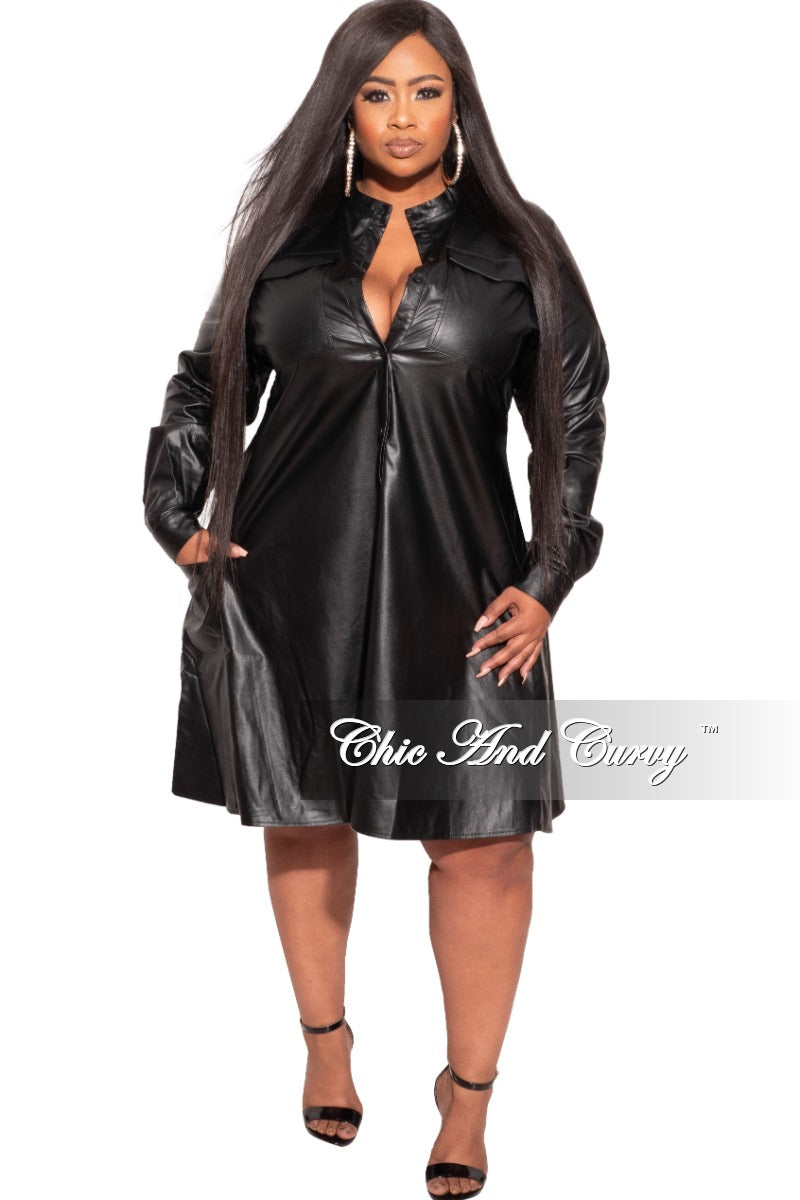 Final Sale Plus Size Shirt Dress in Black Faux Leather