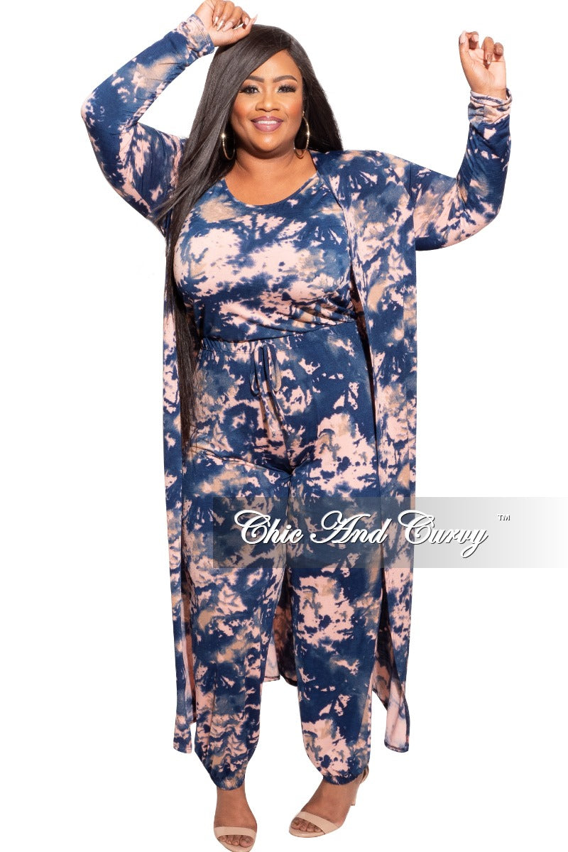 New Plus Size 2-Piece Tie Dye Duster & Spaghetti Strap Jumpsuit Set in Navy and Pink