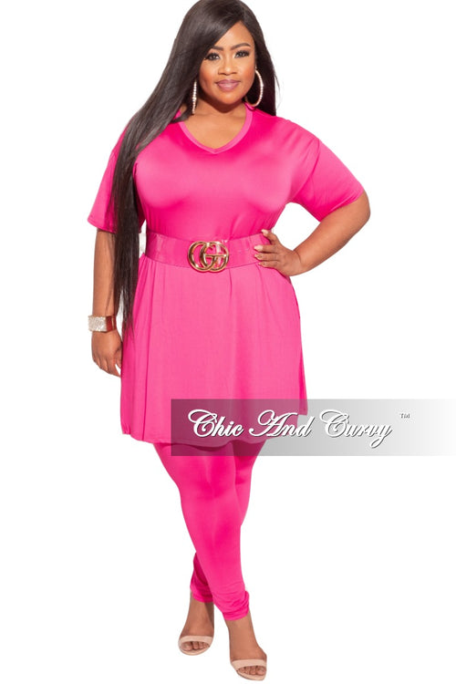Final Sale Plus Size 2-Piece Split Top & Pants Set in Fuchsia