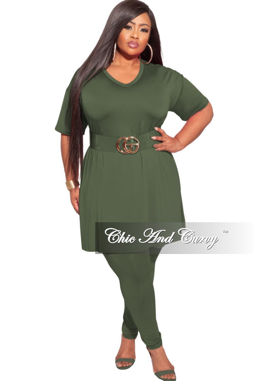Final Sale Plus Size 2-Piece Split Top & Pants Set in Olive