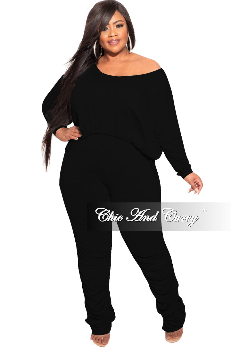Final Sale Plus Size 2-Piece Set with Ruched Pants in Black