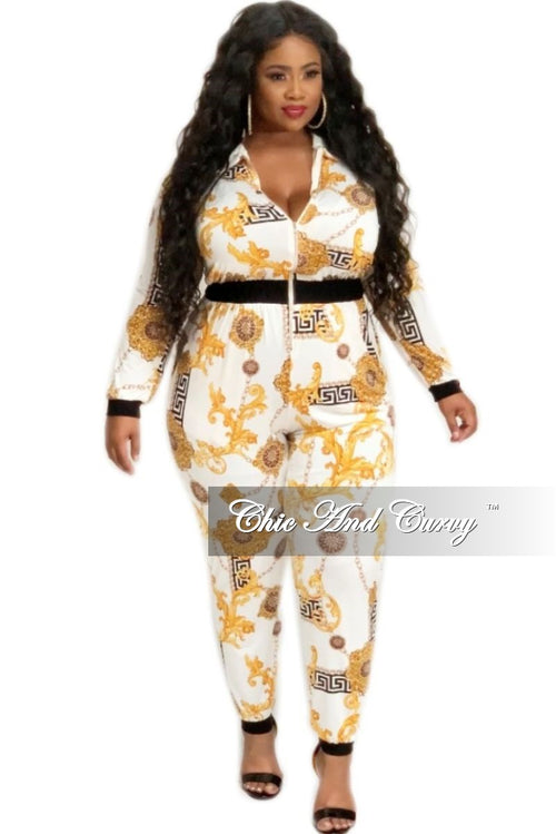 Final Sale Plus Size Zip Jumpsuit in Ivory Chain Print