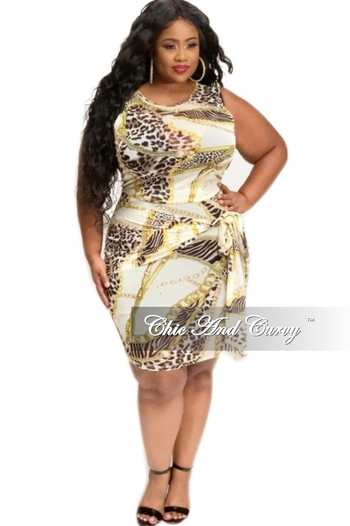 Final Sale Plus Size 2-Piece Mesh Top and Skirt Set in Animal Chain Print