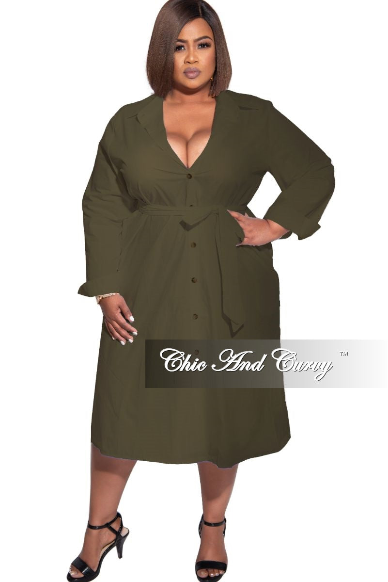 New Plus Size Shirt Dress in Olive