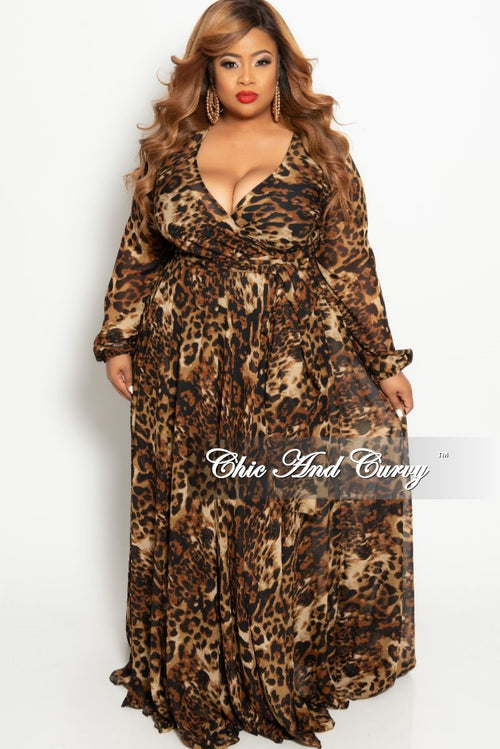 Final Sale Plus Size Faux Wrap Long Chiffon in Animal Print